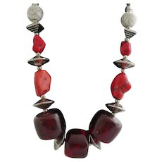 Huge Burgundy Beads, Chunky Red Coral, and Silver Beads Standout Necklace