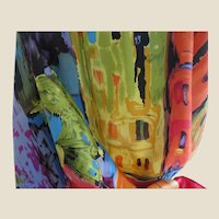 Glorious Large Silk Scarf in Plum, Blue, Green, Pink, Black, and Gold, Perfect for Fall