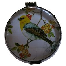 Small Lidded Porcelain Jar With Bird on Flowering Branches
