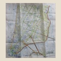 Map of Manhattan New York Silk Handkerchief, Unused