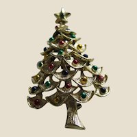 Gerry's Gold Tone Christmas Tree Pin Brooch with Metallic Coloured Balls