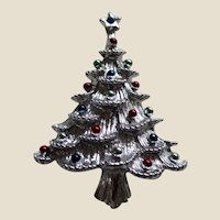 Gerry's Silver Tone Christmas Tree Pin Brooch with Coloured Metallic Balls