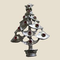 Silver Tone and Red Rhinestone Christmas Tree Pin Brooch