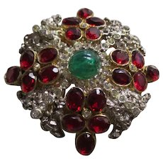 Ornate Rhinestone Brooch with Simulated Diamonds, Rubies and An Emerald