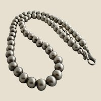 Fine Pewter Beads Handmade Necklace by Bernard Bouhnik for Metal Pointu's, Paris, France