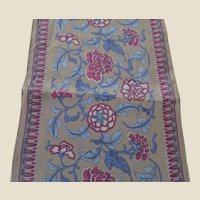 Ginnie Johansen Long Floral Silk Scarf in Tan, Light Blue and Plum