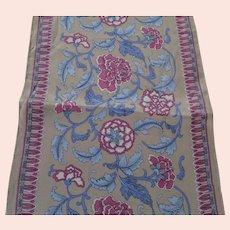 Ginnie Johansen Long Floral Silk Scarf in Tan, Light Blue and Plum