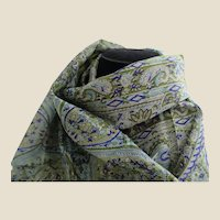 Green and Blue Long  Silk Paisley Shawl Scarf