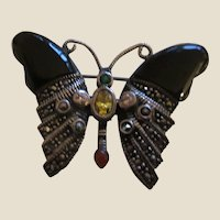 Signed Sterling, Onyx, Citrine, Carnelian, Amethyst, and Marcasite Butterfly Pin Brooch