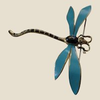 Antique Painted Enamel Dragonfly Pin Brooch