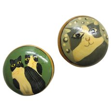 Pair of Cute Handpainted Kitty Cat Lidded Wooden Boxes - Miniatures, Dolls, Cat Lovers