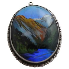 Rare Shipton Art Deco Butterfly Wing & Sterling Silver Reverse Painted Pendant with Mountain Scene