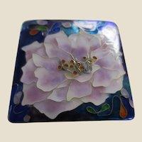 Signed Enamelled Peony Flower Brooch Pendant in Rich Tones