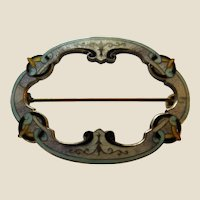 Rare Richard Hemsley Edwardian Sterling and Enamel Celtic Knot Motif Pin Brooch