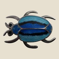 Signed Jeronimo Fuentes Brilliant Blue Enamel and Sterling Silver Beetle Pin Brooch