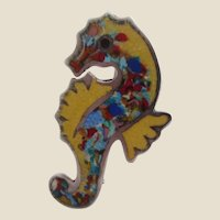 Signed Jeronimo Fuentes Jewelled Tones and Yellow Enamel and Sterling Silver Seahorse Pin Brooch