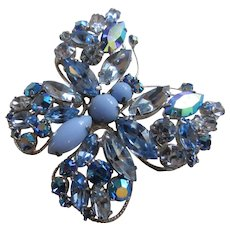 Dazzling REGENCY Clear, AB, and Opaque Blue Rhinestone Butterfly Brooch, Book Piece