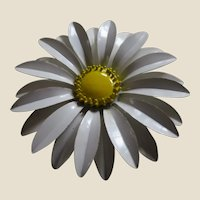Large 1960's Enamel Daisy Flower Pin - White and Yellow