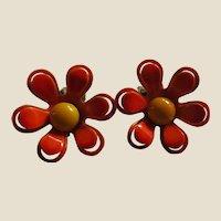 1960's Enamel Flower Earrings - Neon Orange and Tangerine