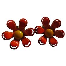 1960's Enamel Flower Earrings - Neon Orange and Tangerine