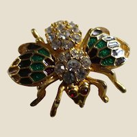 Beautiful Enamel and Rhinestones Bee Pin Brooch