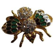 Beautiful Enamel and Rhinestones Bee Pin Brooch