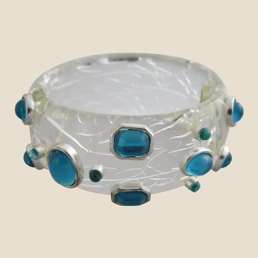 Vintage Chunky Crackled Lucite with Aqua Cabochons Hinged Clamper Bracelet