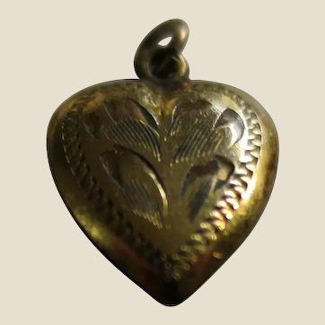 Tiny Gold Filled Engraved Puffy Heart Charm Pendant - Doll Size