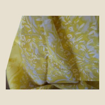 MARJA KURKI Long Golden Yellow, Grey, and White Leaf and Tree Pattern Silk Scarf