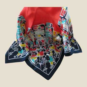 Vintage Silk Scarf Showing New York City Night Clubs Including Jack & Charlies 21 Club