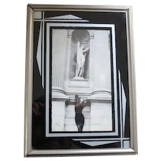 Art Deco Reverse Painted Glass Stand-up Photo Picture Frame in Black and Silver