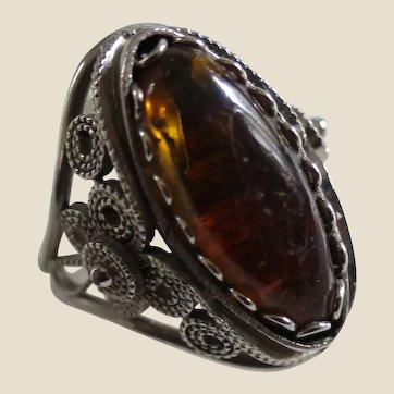 Dark Honey Amber Ring In A Handmade Ornate Silver Setting, Size 7
