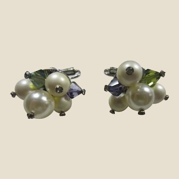 Gorgeous Vendôme Simulated Pearls and Crystals Comfort Clip-on Earrings - June Birthstone