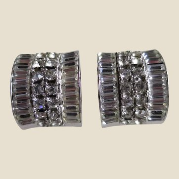 Stunning Coro Domed Demi Hoop Clip-on Earrings with Clear Baguettes and Chatons and Openwork Sides