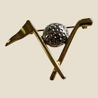 Golf Theme Pin Brooch with Club, Ball, and Pennant