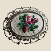 Petit Point Pin Brooch Handmade in Vienna, Austria on Original Card