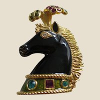 Stunning BIJOUX CASCIO Plumed and Jewelled Black Enamel Horse Head Brooch Pin with Original Information Card