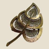 COROCRAFT Pavé Rhinestone Brushed Gold Metal Leaf Pin Brooch, c. 1960's