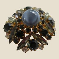Gorgeous AUSTRIA Domed Pin Brooch with Dark Blue, Grey and Clear Rhinestones