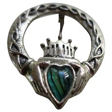 Vintage Irish Claddagh Brooch Pin with Green Abalone-like Art Glass Heart