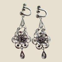 Silver Filigree Metal Dangling Screwback Earrings