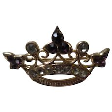 Pretty Crown Pin Brooch with Purple and Clear Rhinestones - Doll Size