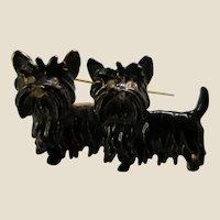 Pair of Cute Black Enamelled Scottish Terrier Dogs Pin Brooch