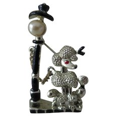 Posh Poodle Next to An Old Fashioned Lamp Post Pin Brooch