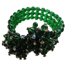 Miriam Haskell Style Memory Wire Three Strand Wrap Bracelet with Deep Green Glass Beads and Rhinestones