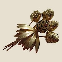 Rare Signed Mr. John Bouquet of Golden Pine Cones Pin Brooch, c. 1950's
