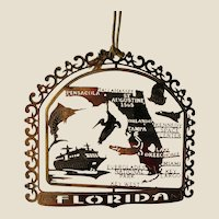 FLORIDA State Bird and Flower 24K Gold Plated Christmas Year-round Ornament