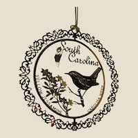 SOUTH CAROLINA State Bird and Flower 24K Gold Plated Christmas Year-round Ornament