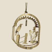 WYOMING State Bird and Flower 24K Gold Plated Christmas Year-round Ornament
