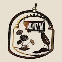 MONTANA State Bird and Flower 24K Gold Plated Christmas Year-round Ornament